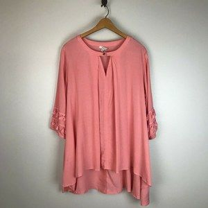 Jodifl Pink 3/4 Tassel Sleeve Boho Swing Tunic Top